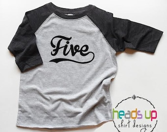 Five Raglan Tee Boy/Girl - 5th Birthday Shirt Toddler - Fifth Bday tshirt Baseball Boy/Girl - Trendy 5 Birthday t-shirt - Gift - Sports Tee