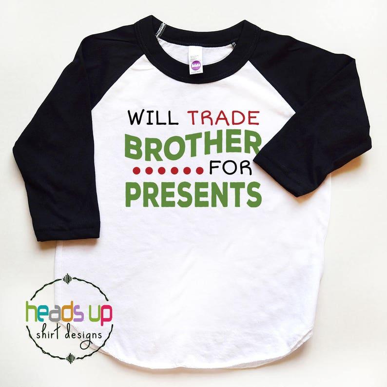 76394f626 Toddler Girl Funny Christmas Shirts Raglan Will Trade   Etsy