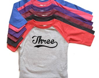 Three Baseball Birthday Tee Raglan - Boy/Girl Third Birthday tshirt - Toddler 3rd Bday Raglan Tee - Trendy Birthday t-shirt Three - 3 Shirt