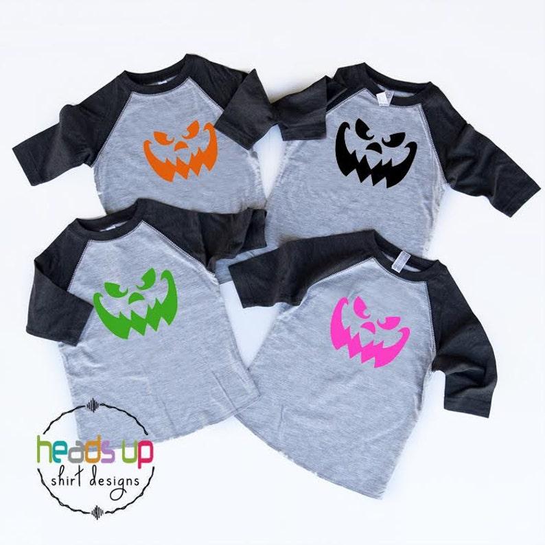 6c7a609a43f Raglan Pumpkin Face Shirt Toddler Boy Girl Baby Girl Boy