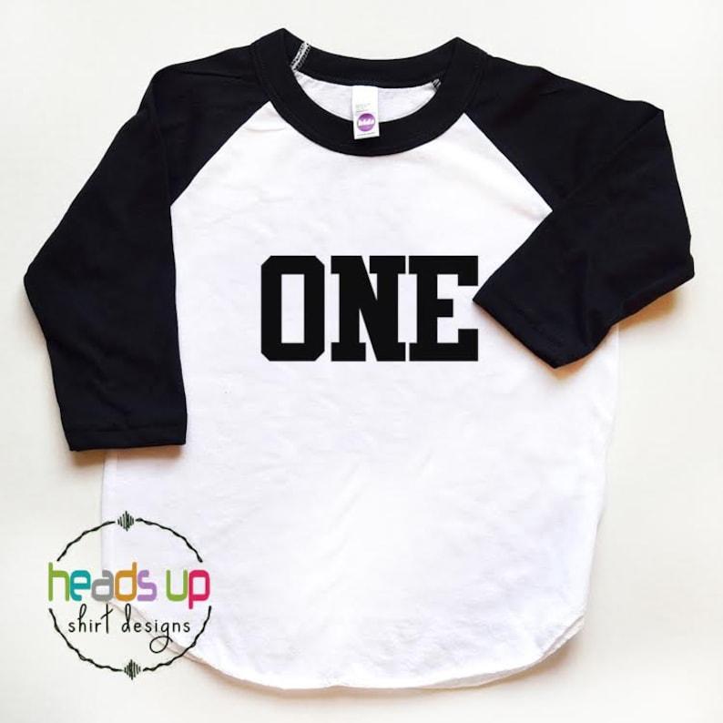 First Birthday Shirt Baby Boy Girl One Raglan 1st