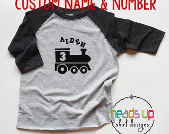 Train Birthday Shirt Personalized - Toddler Boy/Girl Train tshirt - 1st, 2nd, 3rd, 4th, 5th Bday Train Raglan - One/Two/Three/Four/Five Tee
