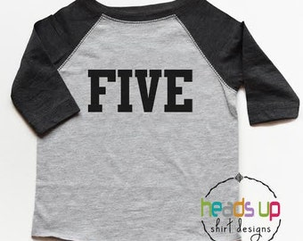 5 Birthday Shirt Boy/Girl - Five tshirt Toddler - Fifth Bday Tee Boy/Girl - 5th Birthday t-shirt - Trendy Sports t-shirt - Baseball - Gift -
