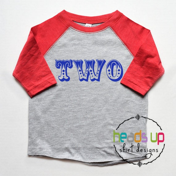 Circus Second Birthday Shirt Toddler Boy Girl Raglan 2