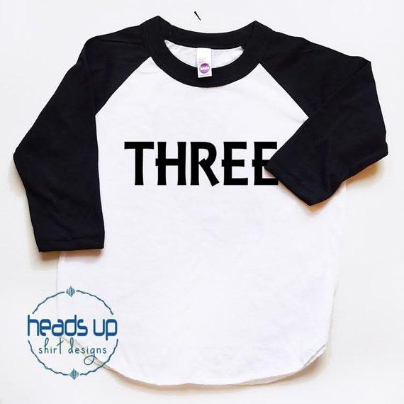Third Birthday Shirt Boy Girl Raglan Three Tshirt