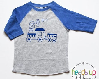 5 Birthday Shirt Train - Fifth Birthday Train tshirt Boy/Girl - Five Birthday Tee Toddler - Trendy Train Birthday Shirt Kids - Train Party