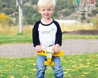 Paper Airplane First Birthday Shirt Paper Airplane Baby Boy/Girl - One Birthday Raglan tshirt - Toddler 1st Bday Tee Boy/Girl - 1 Trendy
