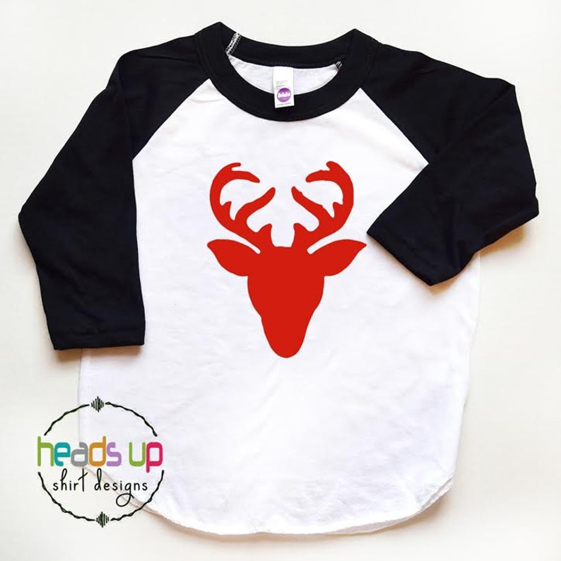 Cute Reindeer With Big Antlers Wearing Red Scarf Kids Boys Girls T-Shirt