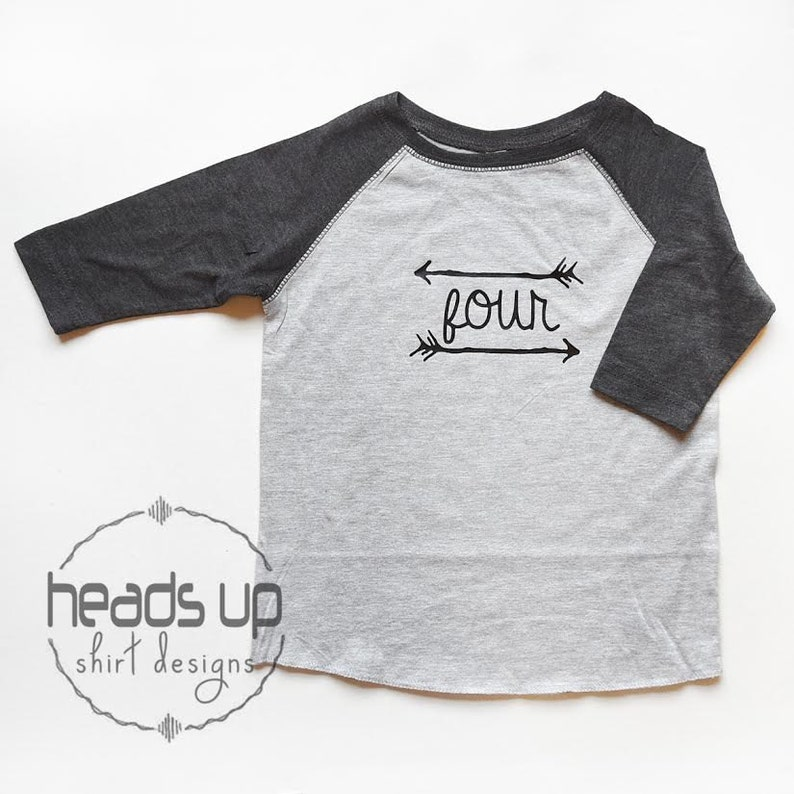 Raglan Birthday Shirt Four Toddler Boy Girl 4 Bday