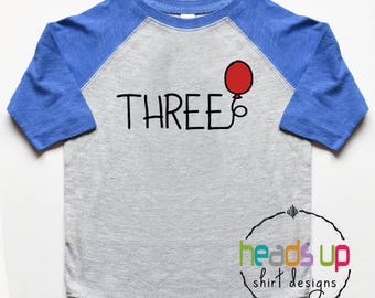 Toddler Boy or Girl 3rd Birthday Shirt Raglan - Three Birthday Raglan tshirt Kids - Trendy 3 Balloon Birthday Tee Toddler - Third Bday Gift