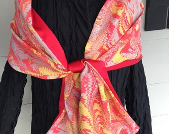 """Red marbled reversible silk shawl 72"""" by 14"""""""