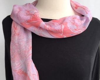 """Handmade marbled Silk Chiffon scarf 50"""" by 8"""""""