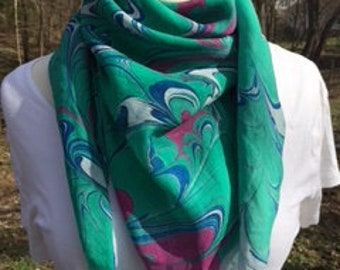 """35"""" X 35"""" hand marbled square silk scarf with tassels"""
