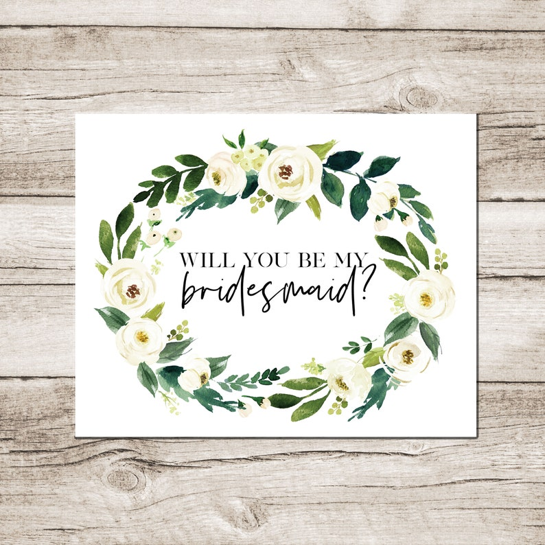 graphic relating to Will You Be My Bridesmaid Printable titled Will Oneself Be My Bridesmaid? Printable Bridesmaid Proposal Card White Floral Greenery Instantaneous Obtain Backyard Wedding day Bridesmaid Present