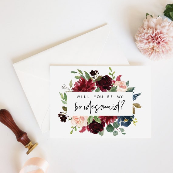 graphic about Bridesmaid Proposal Printable named Will Oneself Be My Bridesmaid? Printable Bridesmaid Proposal Card Burgundy Armed forces Florals Fast Down load Bridesmaid Present