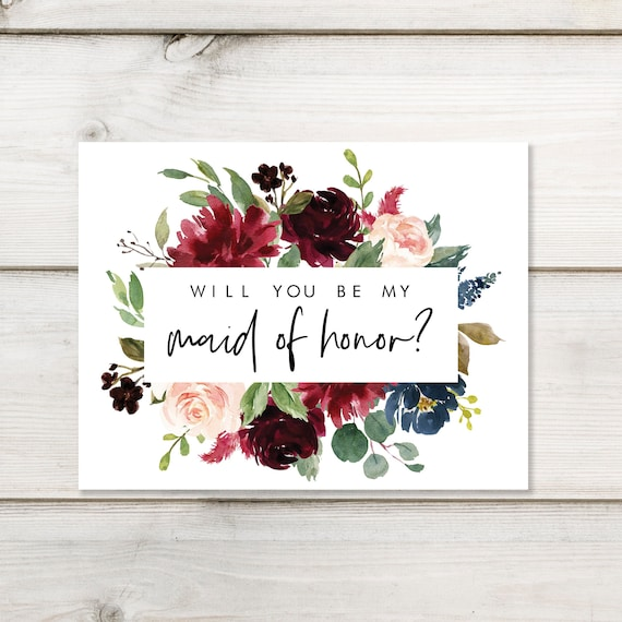 picture relating to Bridesmaid Proposal Printable known as Will By yourself Be My Maid of Honor? Printable Bridesmaid Proposal Card  Burgundy Army Florals Immediate Down load Bridesmaid Present