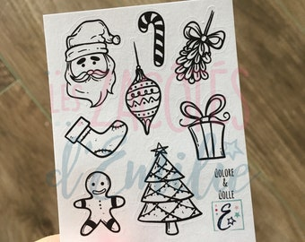 Set of Christmas stickers to color and paste (set of 9 lots)