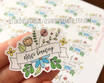 """Stickers """"Merci beaucoup"""" paper stickers with a blue wreath"""