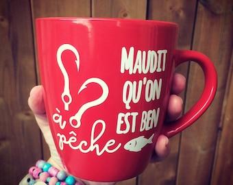 "Sticker ""Maudit qu'on est ben à pêche"" to stick on mugs, glasses, beer bock, Mason jar, etc"
