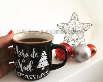 Décalque Accro de Noël, #jemassume pour coller sur une tasse, verre, bouteille