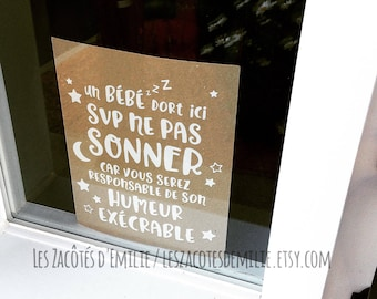 """Decal """"Ne pas sonner"""" for the baby's naps, to stick in the window or on a cardboard"""