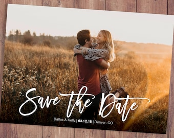Save The Date Template With Photo Card Photoshop Template Photographers  Wedding Photography PSD Rustic Postcard Photo Collage Save The Date