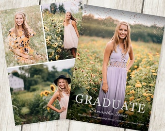 graduation invitation template with photo card photoshop etsy