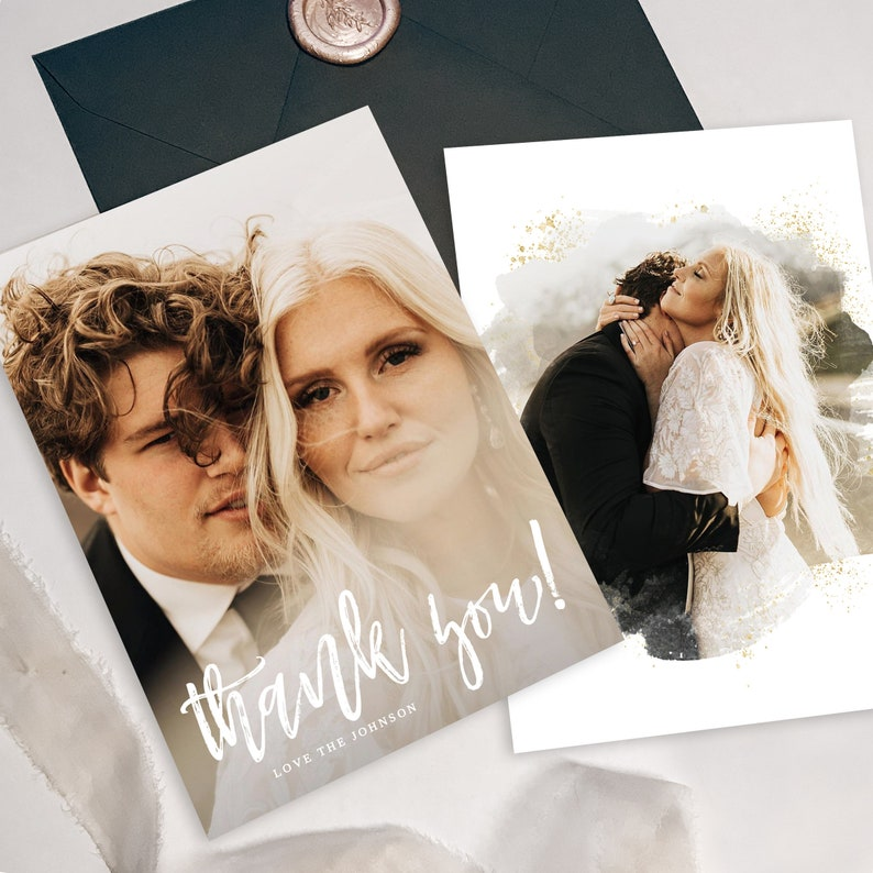 Wedding Thank You Card with Photo Template Printable Thank You Card Photo Thank You Card Templett Editable Download with Pictures TY043