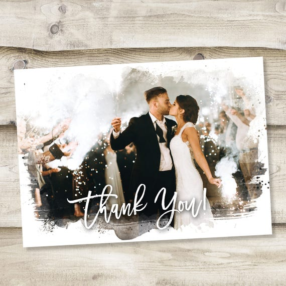 Wedding Thank You Cards Printable Thank You Card Template Custom Thank You Card Full Photo Collage Postcard Thank You Note Watercolor Image
