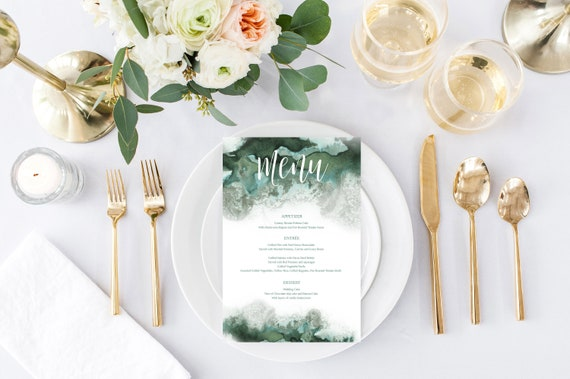 wedding dinner menu formal dinner menu instant download green etsy
