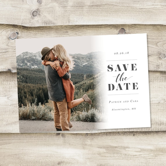 Save the date template with photo card photoshop template etsy image 0 maxwellsz