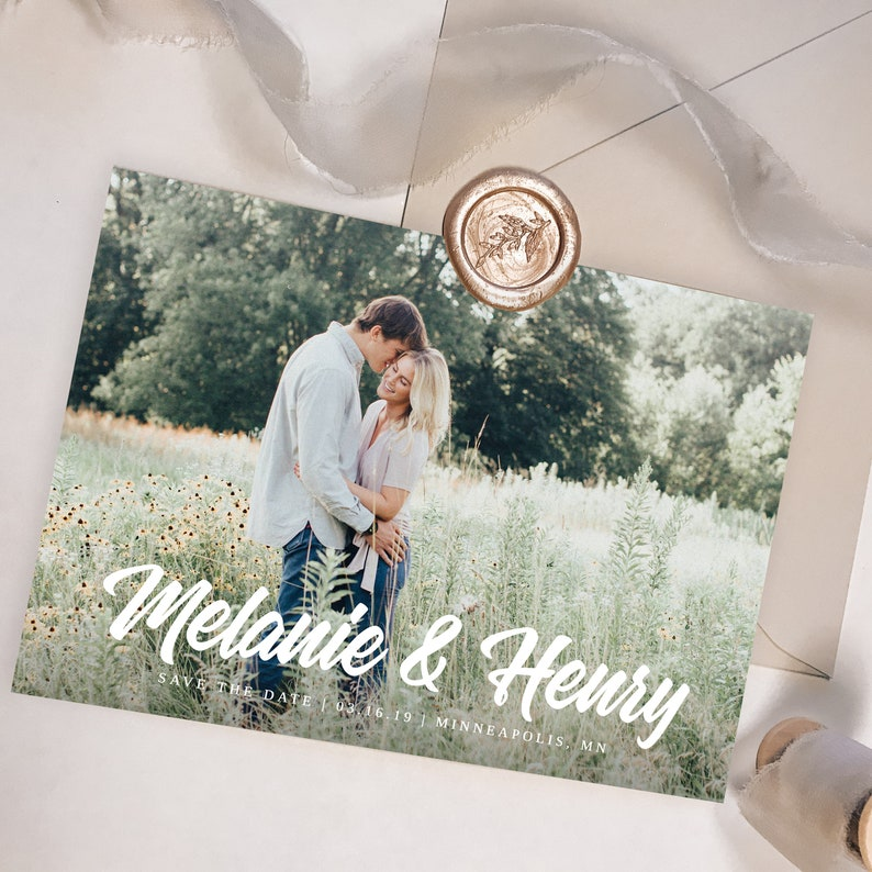 Save the Date with Photo Template Printable Save the Date Card Photo Save the Dates Templett Editable Save the Date with Pictures S028