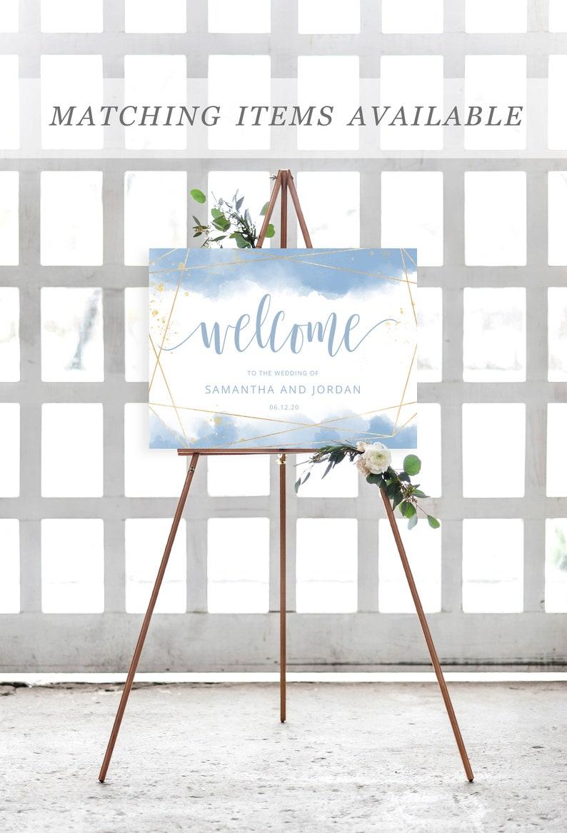 Wedding Invitation Set INSTANT DOWNLOAD Light Dusty Blue and Gold Wedding Invite Template Editable PDF Printable Invite Suite Templett #008