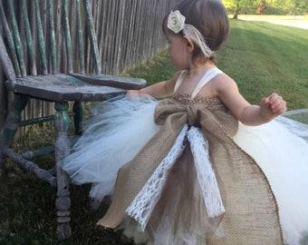 Flower Girl Tutu Dress, Vintage Inspired, Rustic Tutu dress, Shabby Chic Tutu Dress, Girls Tutu Dress, Vintage Wedding, Birthday Tutu, Tutu