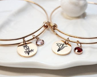 voqoomkl Personalized Bracelets Stainless Steel Jewelry for Women Girls Gift Sliver Rose Gold Cuff Bangle for Mom Daughter Teen Girls Gift