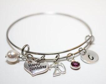 20th Birthday Bracelet Charm Jewelry Gift Initial