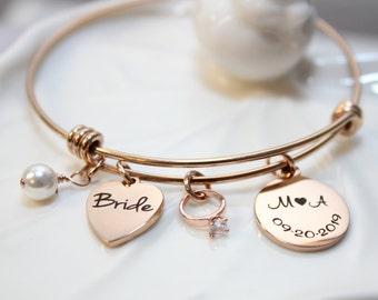 wedding mother of the bride sterling silver getaway Bridal shower gift Celebration mother daughter heart cutout bangle bracelet