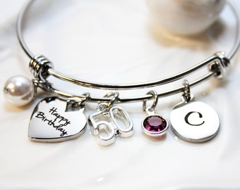 birthday 50th bangle, 50th birthday bracelet, 50th birthday jewelry, 50th birthday gift, initial 50th birthday bracelet, 50th birthday