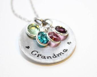 grandma necklace, grandma birthstone necklace, personalized grandma necklace, grandma jewelry, grandma gift, grandmother necklace, grandma
