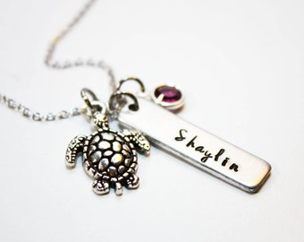 turtle necklace, personalized turtle necklace, turtle name necklace, turtle theme gift, turtle charm necklace, turtle with name necklace