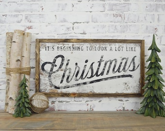 its beginning to look a lot like christmas rustic home decor rustic christmas sign farmhouse christmas sign fixer upper decor - Farmhouse Christmas