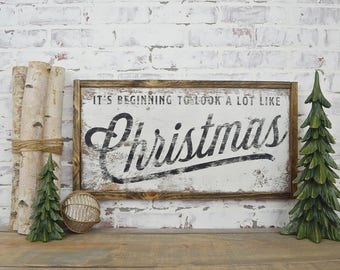 its beginning to look a lot like christmas rustic home decor rustic christmas sign farmhouse christmas sign fixer upper decor - Christmas Decor Signs