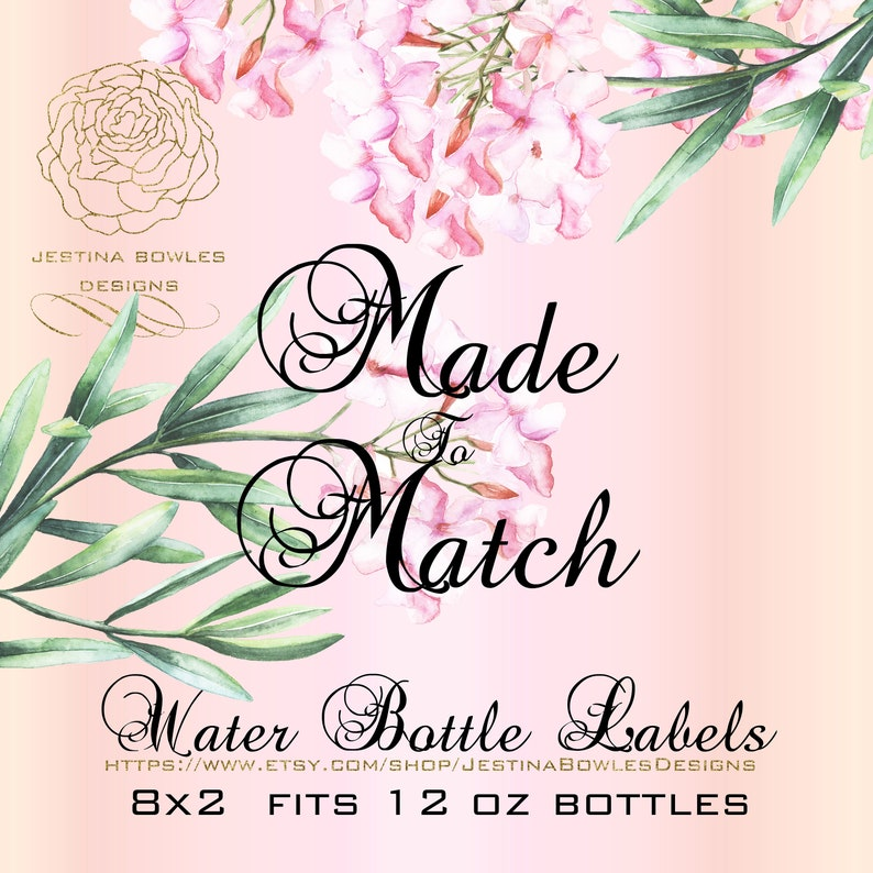 8x2 labels on 8.5x11 # M2MWBL-np printable,party favors Made2Match,non-exclusive Personal Use Only 5 On Demand Water bottle labels