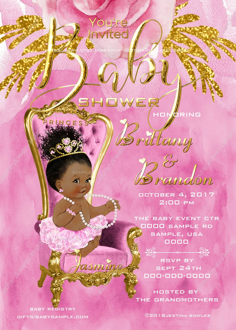 93605a1c9 Pink and Gold Baby Shower Invitation African American Baby | Etsy