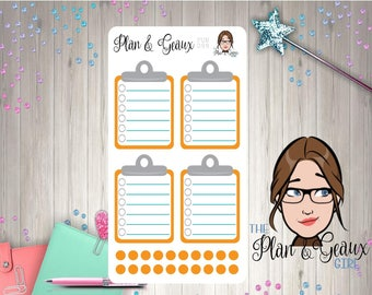 Clipboard Planner Stickers, Orange Clipboard Planner Stickers, Happy Planner Stickers, FUN-099 Orange
