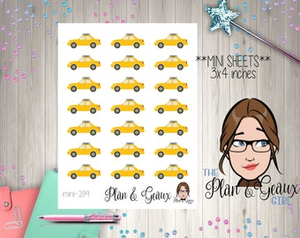 Taxi Planner Stickers, Taxi Cab Stickers, Call a Cab Planner Stickers, Happy Planner Stickers, Erin Condren, Bullet Journal, MINI 289