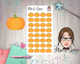 Pumpkin Planner Stickers, Orange Pumpkins Planner Stickers, Happy Planner Stickers, Bullet Journal, FUN-371