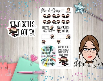 Ninja Girls Planner Stickers, Always Be a Ninja Planner Stickers, Ninja Stickers, Bullet Journal, Happy Planner, FUN-017