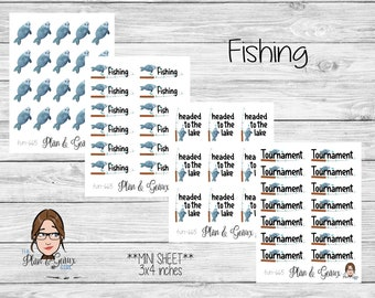 Fishing Planner Stickers, Fish Planner Stickers, Fishing Tournament Stickers, Happy Planner Stickers, Bullet Journal, FUN-665