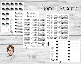 Piano Lessons Planner Stickers,  Lessons Stickers, Music Lessons Stickers, Happy Planner Stickers, Bullet Journal, FUN-623